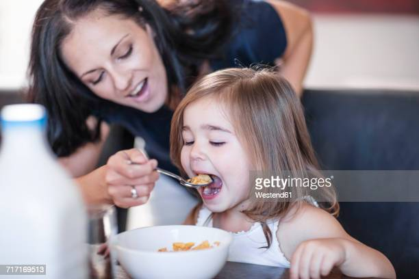 mother feeding daughter breakfast cereal at table - nourrir photos et images de collection