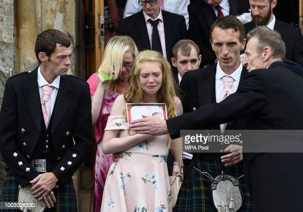 Family and friends gather at the funeral of sixyearold Alesha MacPhail from Coats Funeral Home on July 21 2018 in Coatbridge Scotland Alesha...