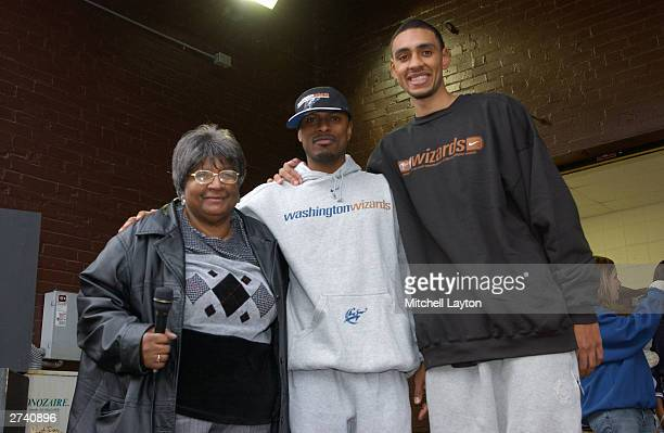 Mother Grace Calloway of the Greater Mount Cavalry Holy Church appears with Chris Whitney and Jared Jeffries of the Washington Wizards at the Chris...