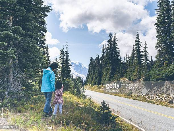 mother hiking with daughter at MT.Rainier