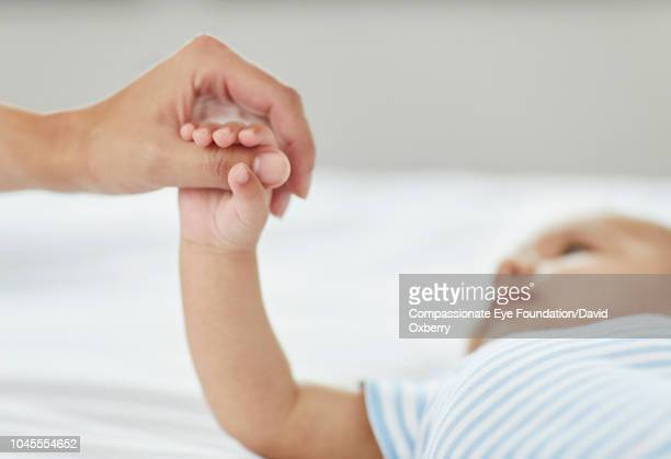 Mother holding baby boy's hand