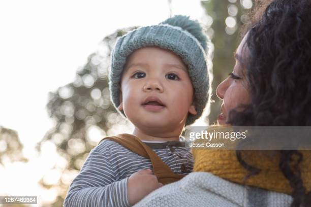 mother holding baby in beautiful light - new zealand stock pictures, royalty-free photos & images