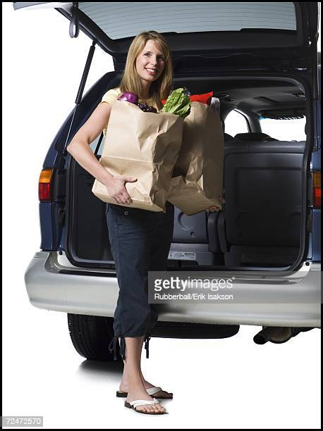 Mother holding groceries