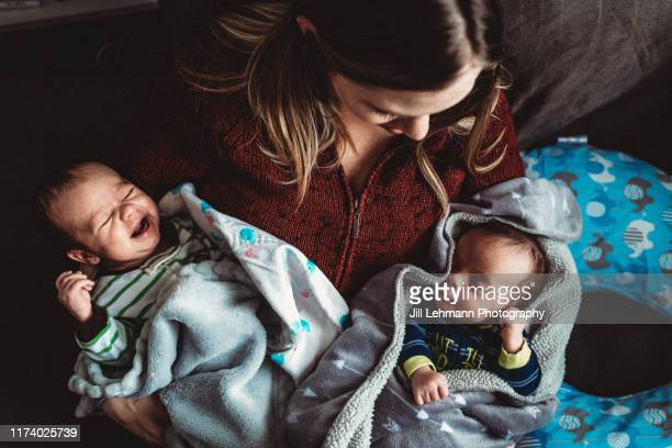 mother holds infant newborn twins together at home on lap - 双子 ストックフォトと画像