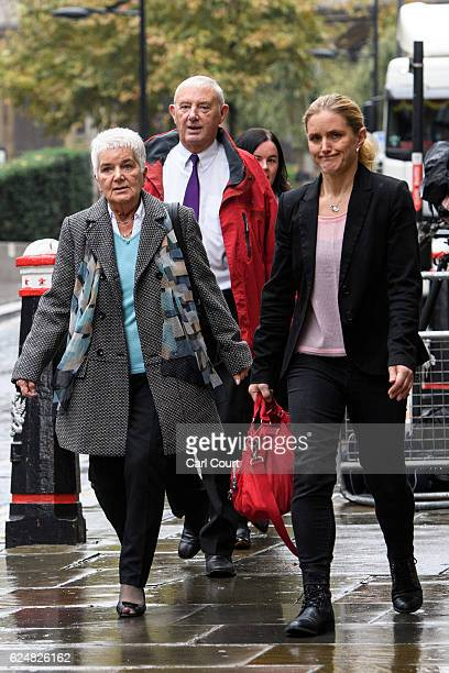 Mother Jean Leadbeater father Gordon Leadbeater and sister Kim Leadbeater of late Labour MP Jo Cox arrive to attend the ongoing trial of Thomas Mair...