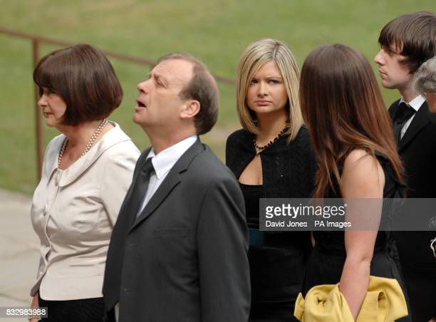 Mother Julia Hawker, father Bill Hawker and sisters Lisa and Loiuse Hawker, and boyfriend Ryan Garside at the funeral sevice of Lindsay Ann Hawker at...