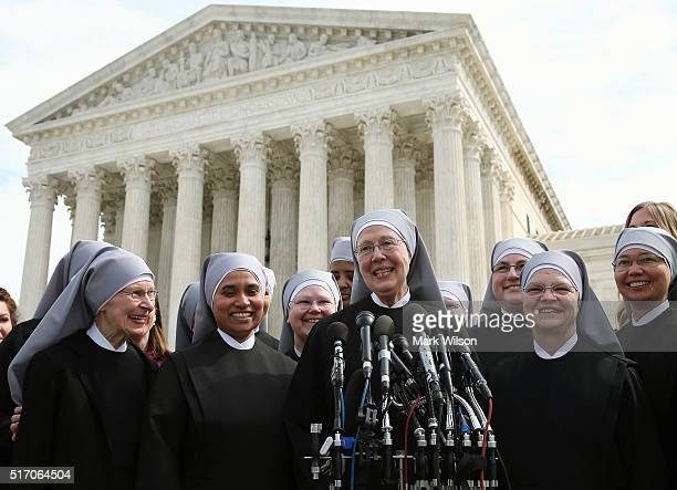Mother Loraine Marie Maguire of the Little Sisters of the Poor speaks to the media after aruments at the US Supreme Court March 23 2016 in Washington...