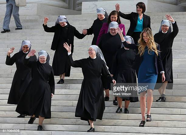 Mother Loraine Marie Maguire of the Little Sisters of the Poor walks down the steps of the US Supreme Court after aruments March 23 2016 in...