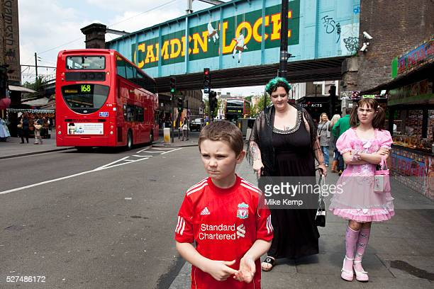 Mother Louise IrwinRyan with her daughter Georgia and son Kiefer spending a day out together in Camden Town North London Here they are walking near...