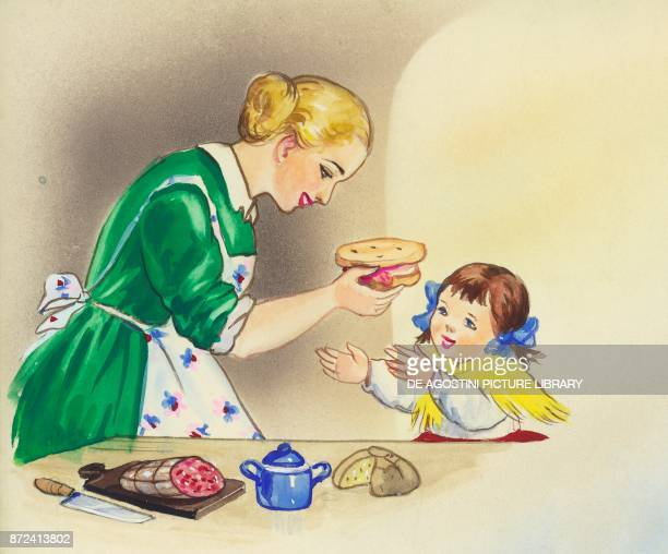 Mother making bread and salami for her daughter children's illustration drawing