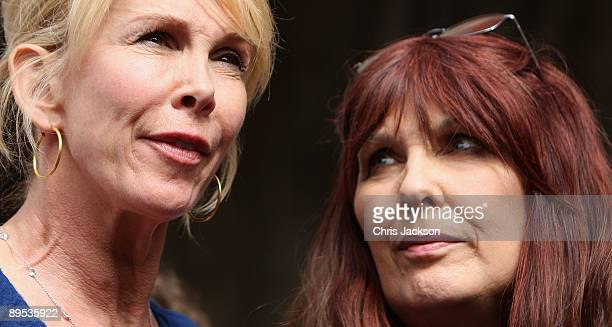 Mother of British hacker Gary McKinnon watches supporter Trudie Styler as she gives a statement outside the Royal Courts of Justice on July 31 2009...