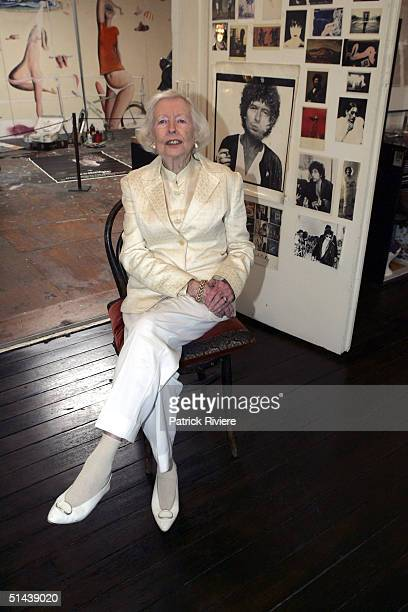 Mother of deceased artist Brett Whiteley Mrs Beryl Whiteley poses in her son's studio October 7 2004 after the announcement of the AUD $25000 Brett...