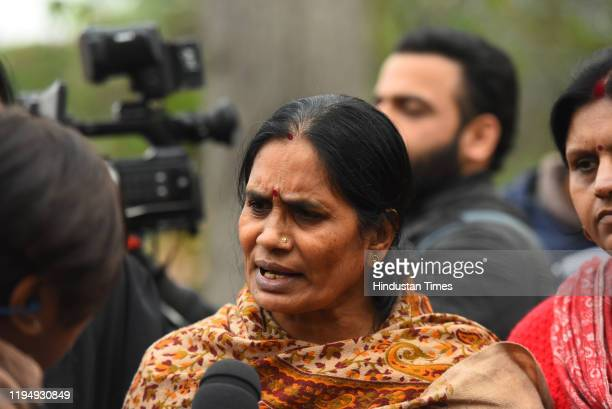 Mother of December 2012 gang rape victim Asha Devi speaks to the media after a hearing, at Supreme Court on January 20, 2020 in New Delhi, India. The...