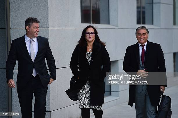Mother of FC Barcelona's Brazilian football player Neymar, Nadine Concalves da Silva Santos , arrives with her lawyers at the High Court in Madrid on...