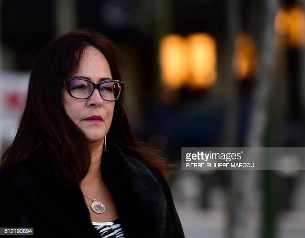 Mother of FC Barcelona's Brazilian football player Neymar Nadine Concalves da Silva Santos arrives at the High Court in Madrid on February 25 2016...