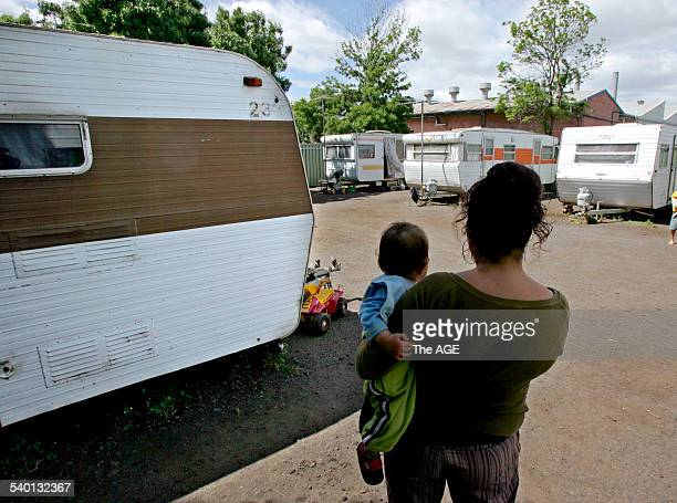 Mother of four Marilyn in Half Moon Caravan Park, Brooklyn, where she has just moved, on 27 October 2006. THE AGE NEWS Picture by ANDREW DE LA RUE