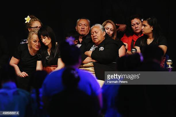 Mother of Nadene Lomu Lois Kuiek sits with wife Nadene Lomu and Jonah Lomu's mother Hepi Lomu during the Aho Faka Famili memorial at Vodafone Events...