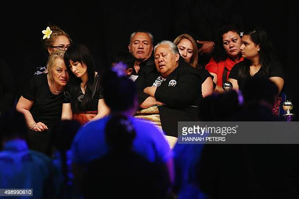 Mother of Nadene Lomu Lois Kuiek sits with wife Nadene Lomu and Jonah Lomu's mother Hepi Lomu during the Aho Faka Famili memorial for All Black and...