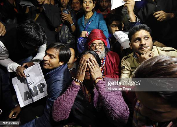 Mother of Nirbhaya breaks down during a protest against the release of juvenile convict of the 16 December gangrape along with student activists at...