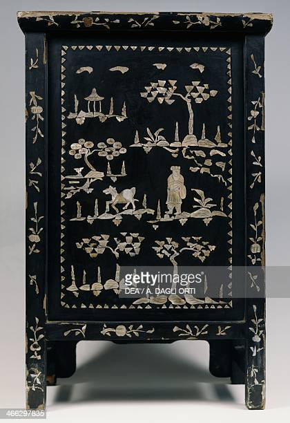 Mother of pearl inlaid cabinet with chinoiserie decoration rear 19th century