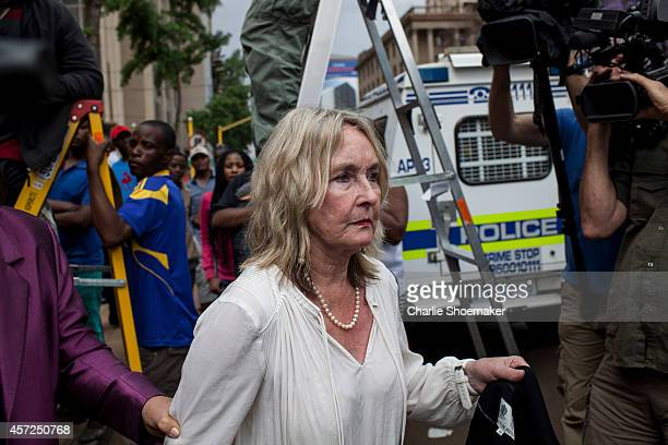 Mother of Reeva, June Steenkamp leaves North Gauteng High Court following the third day of sentencing on October 15, 2014 in Pretoria, South Africa....