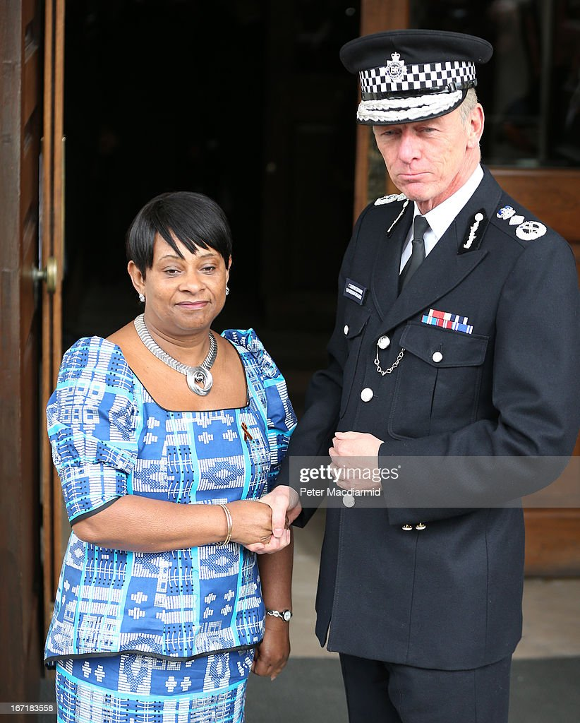 Mother of Stephen Lawrence, Doreen Lawrence, meets with Metropolitan Police Chief Commissioner Sir Bernard Hogan-Howe at a memorial service for Stephen Lawrence at St Martin-in-the-Fields Church on April 22, 2013 in London, England. Stephen Lawrence, a black A-level student was stabbed to death at a bus stop twenty years ago by a gang of white youths in a racially motivated attack in Eltham, south-east London, on April 22, 1993. Two men, Gary Dobson and David Norris were found guilty of his murder in January 2012.
