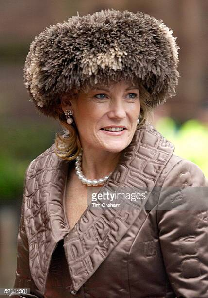 Mother Of The Bride The Duchess Of Westminster Natalia Grosvenor In Fake Fur Hat Arriving For Her Daughter's Wedding At Chester Cathedral She Is...
