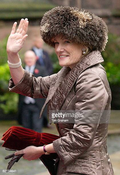 Mother Of The Bride The Duchess Of Westminster Natalia Grosvenor In Fake Fur Hat Arriving For Her Daughter's Wedding At Chester Cathedral
