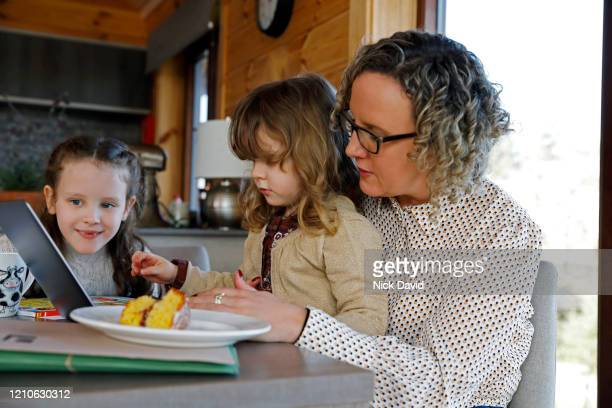 a mother playing an educational game on the computer with her young daughters. - femalefocuscollection stock pictures, royalty-free photos & images