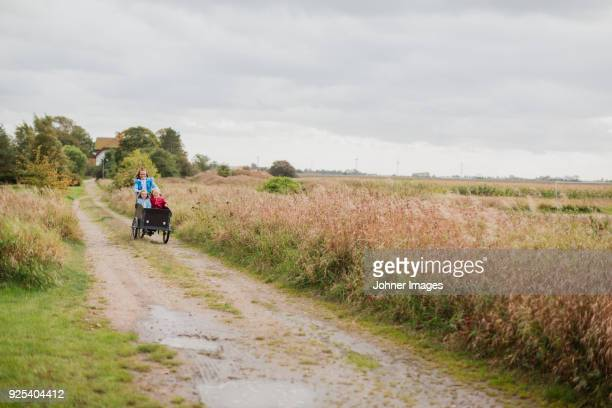 mother pushing daughters in bicycle cart - landelijke scène stockfoto's en -beelden
