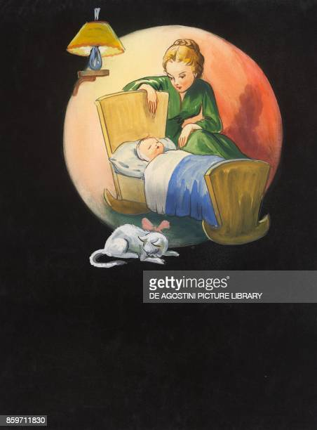 A mother rocking her baby in a cradle and singing a lullaby children's illustration drawing