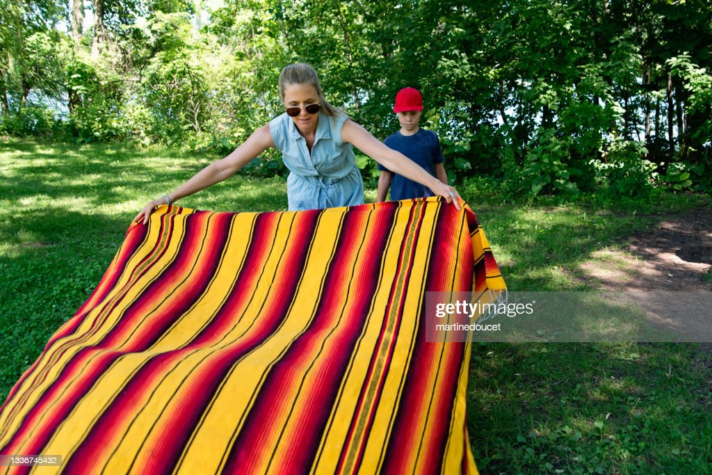 Mother setting a picnic in public park in summer. : Stock Photo