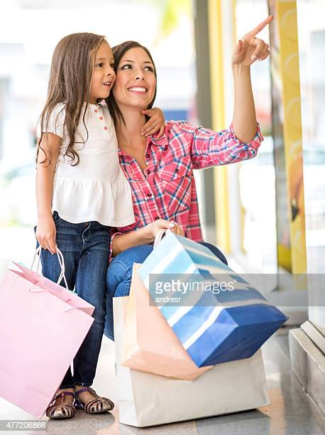 Mother shopping with her daughter