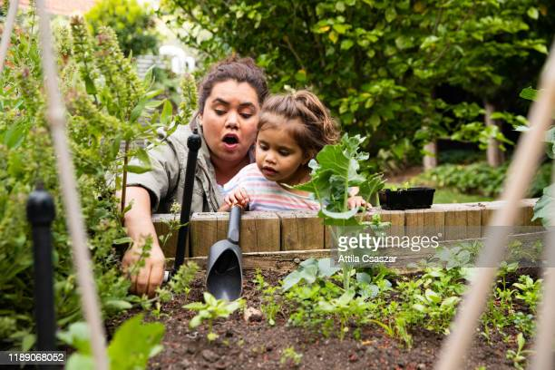 Mother shows her toddler how to plant veggies