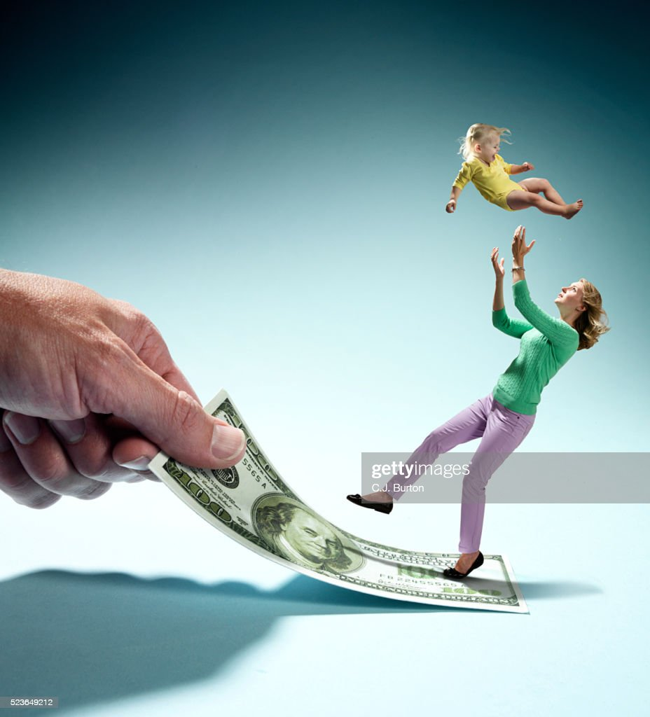 Mother Slipping On Dollar Bill Loosing Baby 2 3 Out Of Hands
