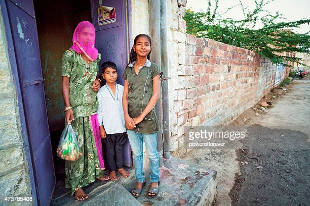 Mother, Son and Daughter in Jodhpur, India