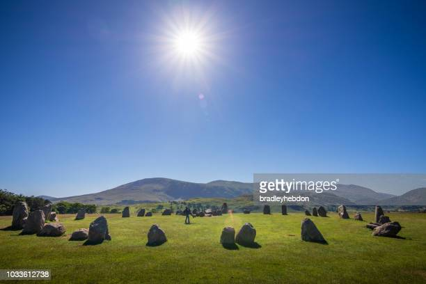 Mother spins daughter inside Castlerigg Stone Circle in the English Lake District