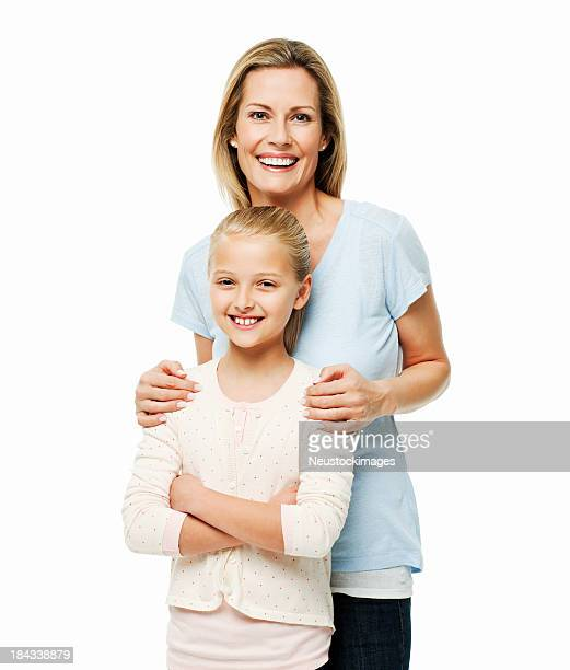 Mother Standing Affectionately Behind Her Daughter - Isolated