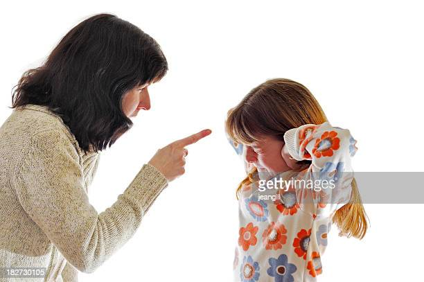 mother telling off delinquent daughter