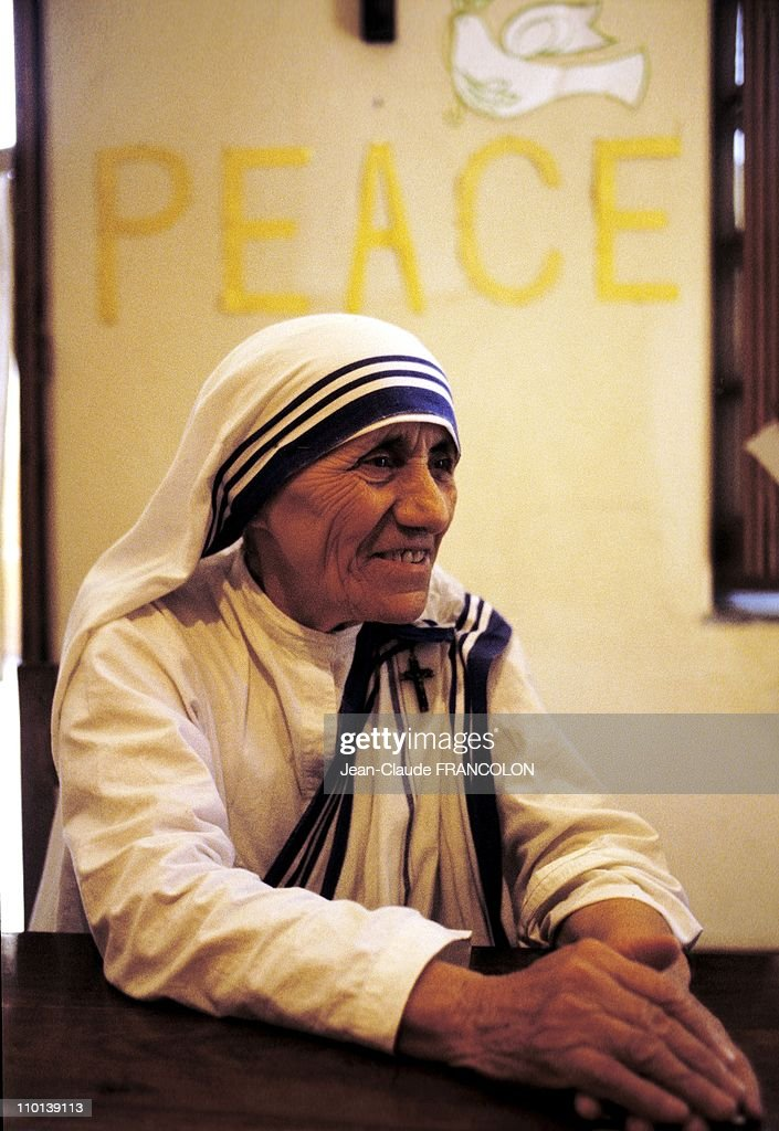 Mother Teresa and the poor in Calcutta, India in October, 1979.