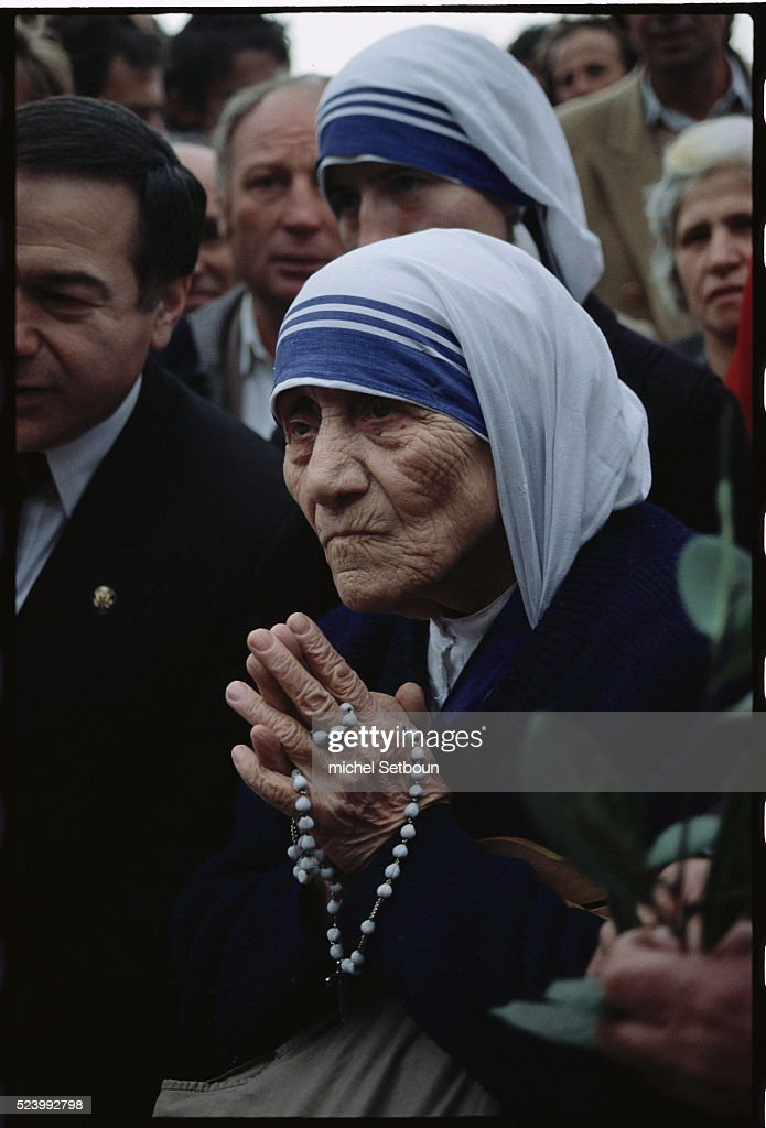 Mother Teresa at the ruins of St. Mary's Church.