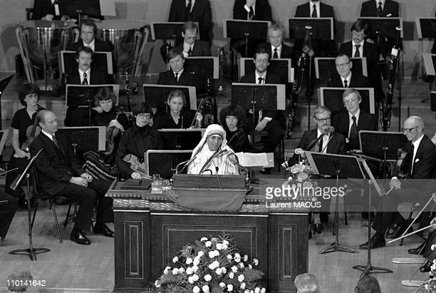 Mother Teresa Nobel Peace in Oslo Norway on December 11 1979