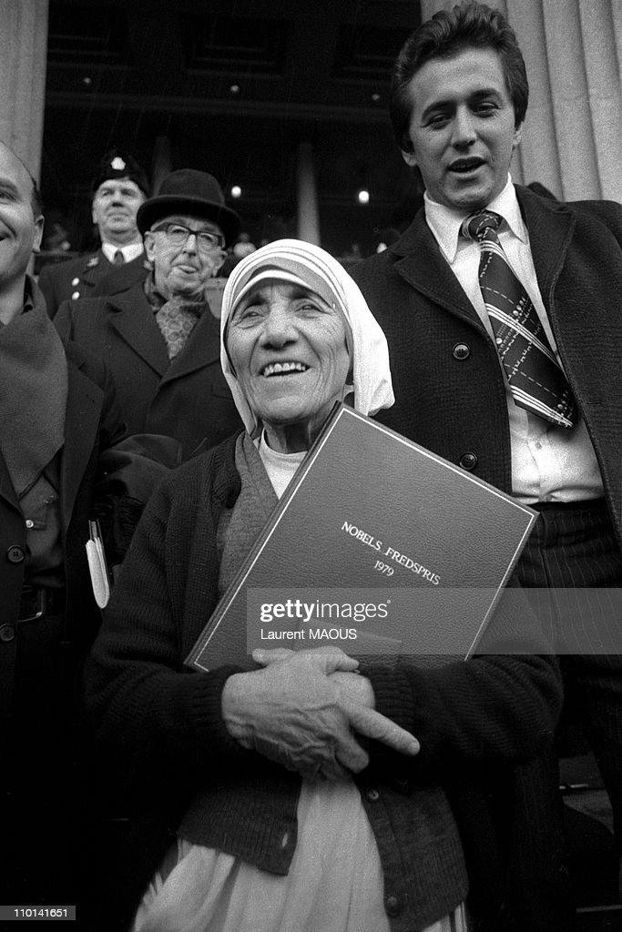 Mother Teresa, Nobel Peace in Oslo, Norway on December 11, 1979.