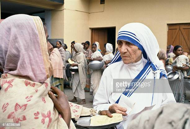 Mother Teresa of Calcutta at Mother Teresa's Mission for the Poor which gives aid to poor and hungry people, Calcutta, India