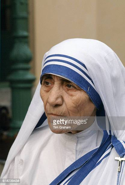 Mother Teresa of Calcutta at Mother Teresa's Mission for the Poor which gives aid to poor and hungry people Calcutta India