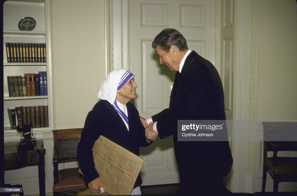 Mother Theresa meeting with President Ronald Reagan at the White House.