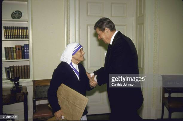 Mother Theresa meeting with President Ronald Reagan at the White House