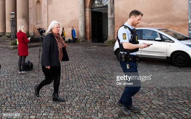 Mother to murdered Kim Wall Ingrid wall leaves Copenhagen City Court on the 10th day of the murder case against Peter Madsen on April 05 2018 in...