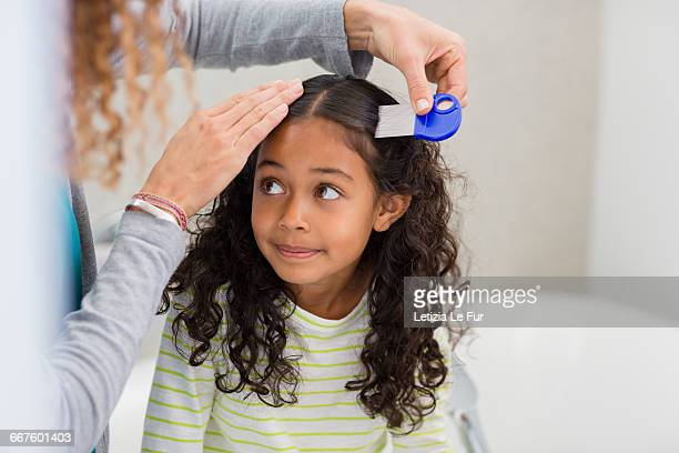 mother using lice comb on daughters hair - louse stock pictures, royalty-free photos & images