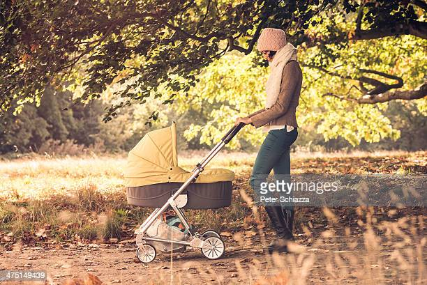 Mother walking baby in pram in forest